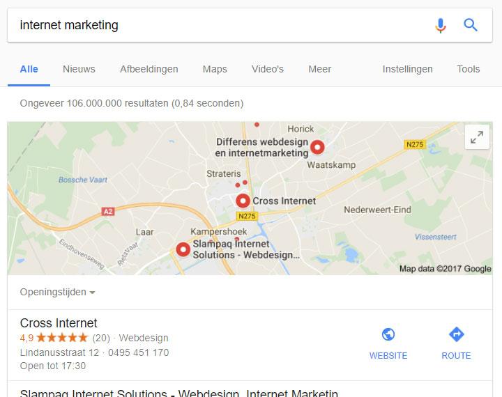 bedrijf promoten in lokale google zoekresultaten