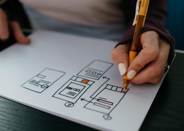 websitestructuur pen papier schets